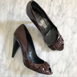 Burberry Patent Leather Open Toe Heels